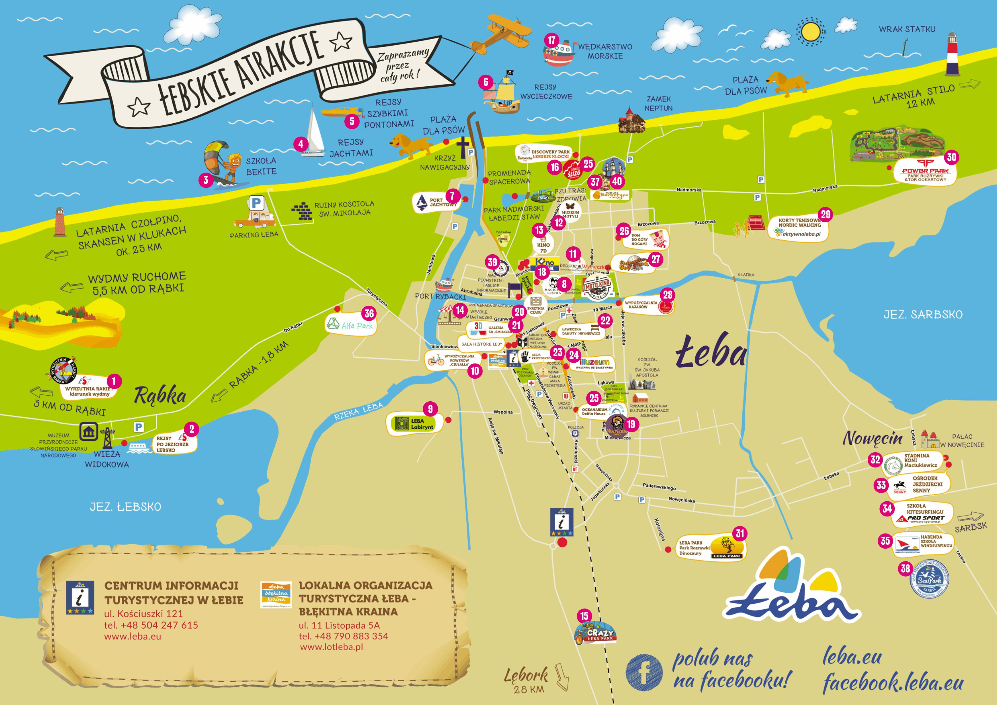 Mapa turystyczna Łeby