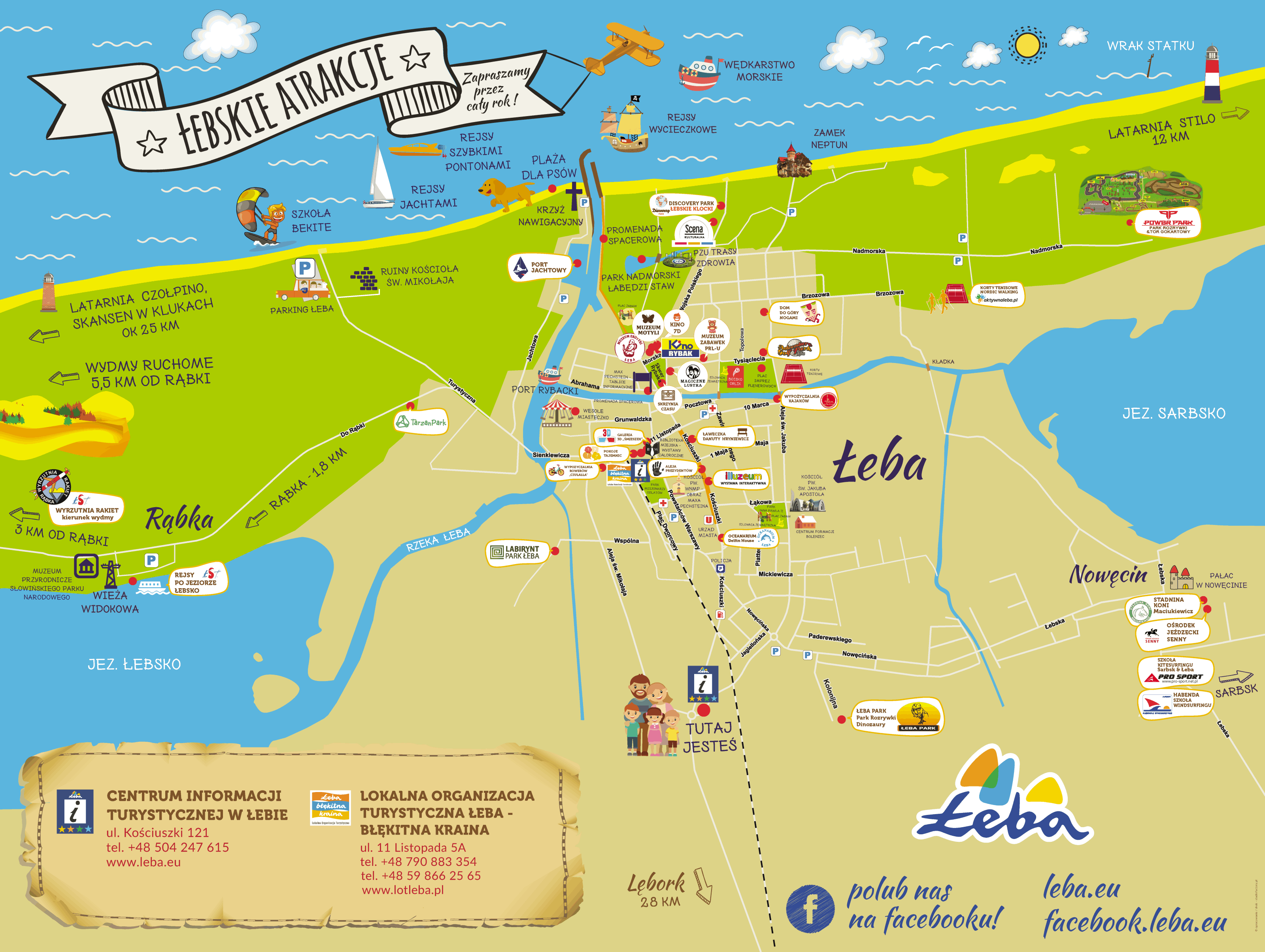 Mapa atrakcji turystycznych – Łeba Miasto Żywiołów