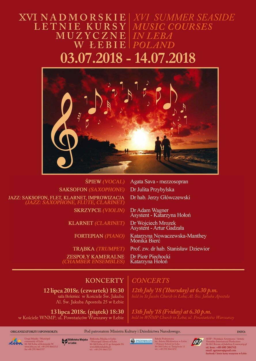 Plakat - Nadmorskie Letnie Kursy Muzyczne w Łebie
