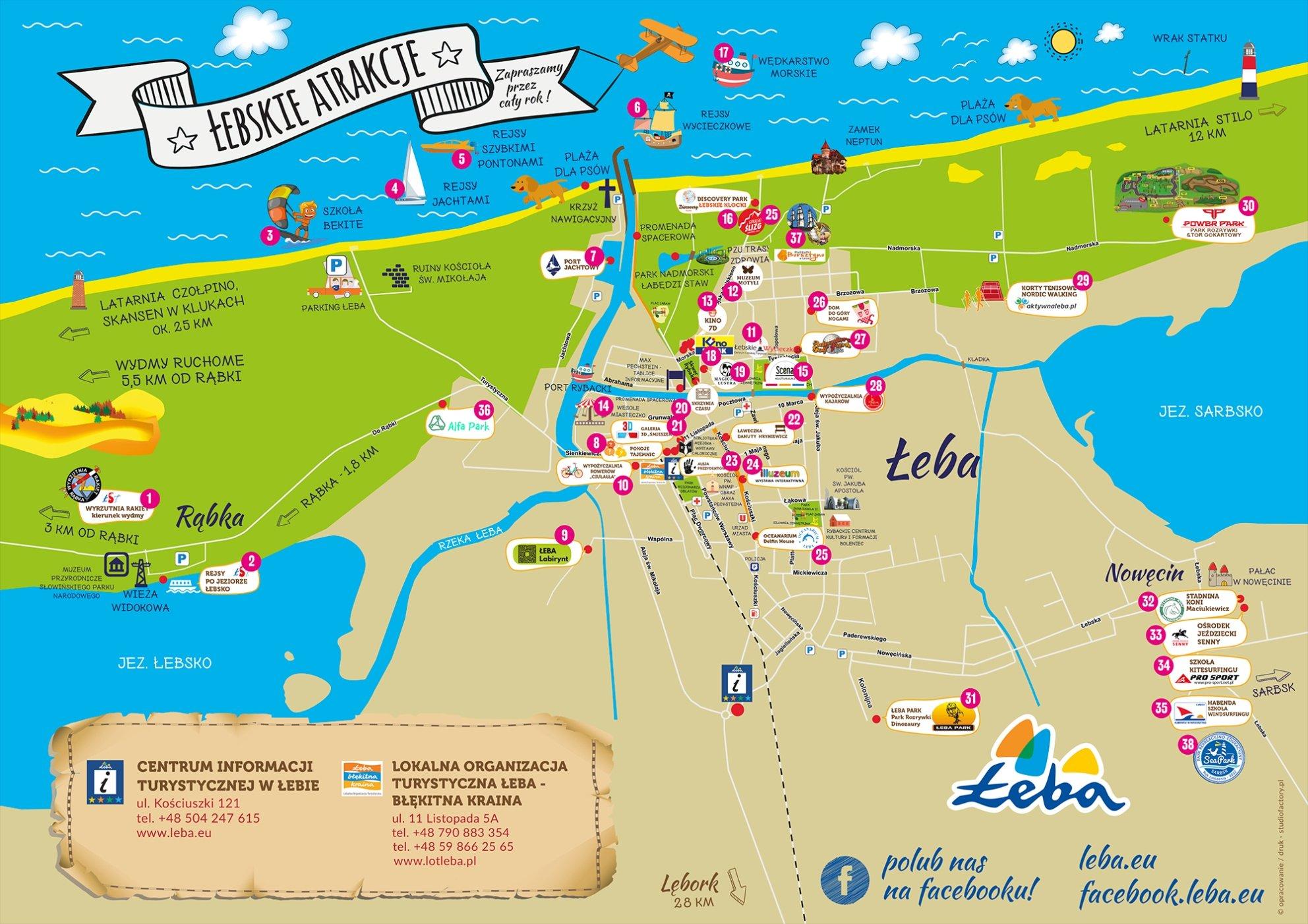 Mapa Atrakcji Turystycznych Leba Miasto Zywiolow
