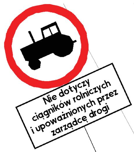 Oznakowanie pionowe B-6 z tabliczką