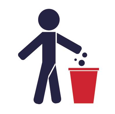 Ikona - wyrzucanie śmieci