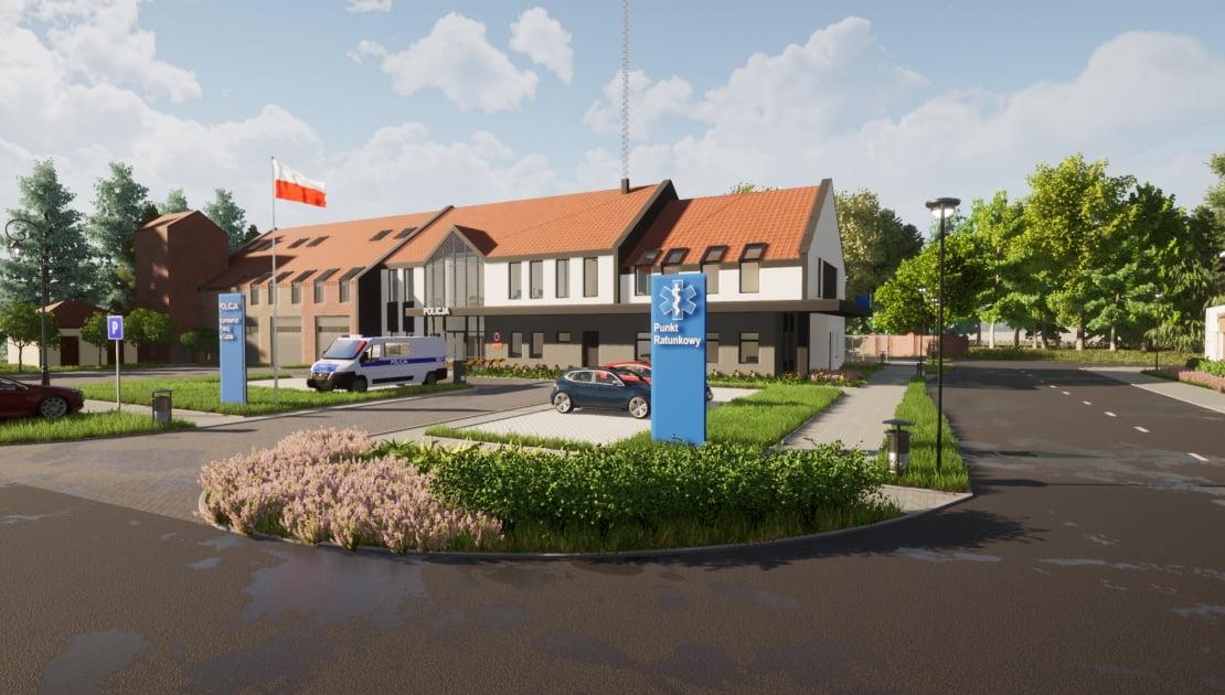 Rozbudowa budynku OSP w Łebie - etap III: Adaptacja części pomieszczeń na komisariat policji oraz przychodnię (punkt medyczny)